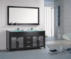 Web Image Gallery  Crater Glass Bathroom Vanity Espresso This stunning yet simple modern bath vanity exudes charm and sophistication It is an elegant additi u