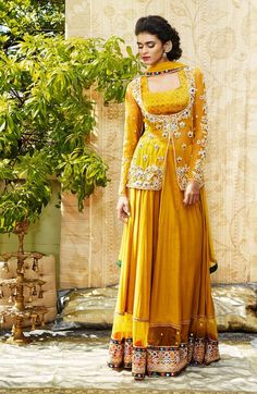 A yellow anarkali by #anjalijani available at www.waliajones.com #indianfashion #online #luxuryclothing #waliajones #anarkali #lehenga #shop #indianfashiiononline #colours #onlineshopping #indianbride #indianstyle #indianclothes