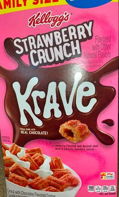 Kellogg's strawberry crunch krave cereal New Recipes, Snack Recipes, Snacks, Taco Salad Doritos, Types Of Cereal, Granola Cereal, Chocolate Flavors, Natural Flavors, Food Items