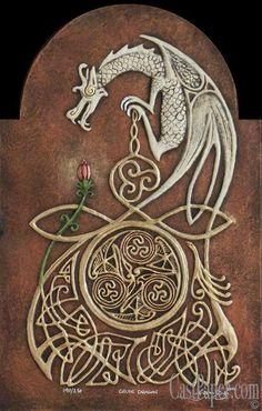 Celtic Dragon - $130.00 : Celtic and Fantasy art in Cast Paper by Kevin Dyer, Celtic Irish Scottish Welsh English dragon dragons knot knots knotwork art artwork fairy fairies tree trees fantasy druid druidism