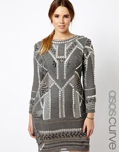 ASOS BLACK FOR CURVE Shift Dress With Armour Beading