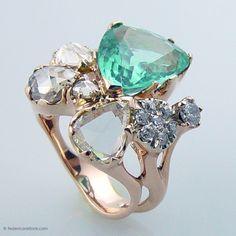 Federica Rettore Ring. 18 kt rose gold  8.72 ct paraiba tourmaline .50 ct antique cut #diamonds 1.09 rose cut yellow diamonds.  #couture #jewelry #aspen  1.83 r.c. brown diamond