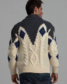 "Photo from album ""Мужской кардиган от Diesel"" on Yandex. Pullover Design, Handgestrickte Pullover, Sweater Design, Hand Knitted Sweaters, Sweater Knitting Patterns, Hand Knitting, Gents Sweater, Knit Cardigan, Knitwear"