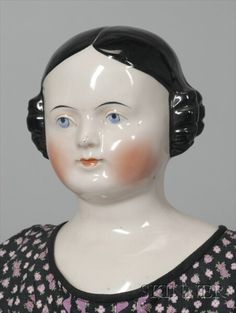 Large frozen charlie pinktinted china doll germany light brown painted eyes short curly black hair with wisps around face clenched hands all pinktinted Old Dolls, Antique Dolls, Vintage Dolls, Covered Wagon, Ladies Gents, Indie Art, China Dolls, Dolls For Sale, Bisque Doll