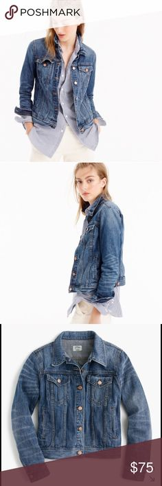 """J.Crew Denim Jacket in Newton Wash RETAIL. A wear-with-everything layer in a darker wash that we finished with iconic vintage details (like copper buttons) that will never go out of style. Body length: 22"""". Sleeve length: 31"""". Hits at waist. Cotton. Machine wash. Import. J. Crew Jackets & Coats Jean Jackets"""