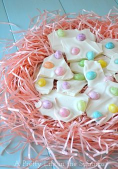 Easter Egg Bark  ~  this recipe uses jelly beans, malted milk eggs would be great or chocolate eggs  :)