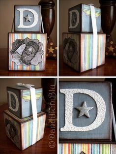 Custom Order ~ Personalised Stacking Wooden cubes. Set of 2 Cubes: Medium 5.8cms and Large 7.8cms. Price: £12.00