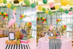 Party tables from Tropically Flamingo Themed Birthday Party at Kara's Party…