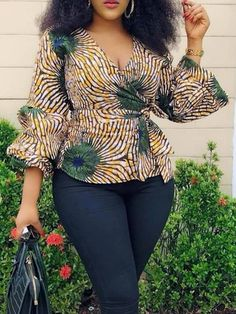 Plus Size V-Neck Print Color Block Womens Blouse - mb mireille - Mode Short African Dresses, African Blouses, Latest African Fashion Dresses, African Print Dresses, Ankara Tops Blouses, Ankara Fashion, African Prints, African Fabric, Short Dresses