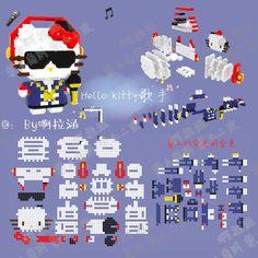 Hamma Beads 3d, 3d Perler Bead, Iron Beads, Origami Easy, Bead Patterns, Pixel Art, Minecraft, Hello Kitty, Pokemon