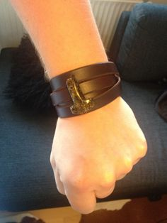 My Leather and amber bracelet.