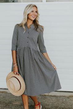 Jaicee Stripe Dress | ROOLEE LOVING HER ABSOLUTELY STUNNING, PIN STRIPED, DARK GREY DRESS! - IT LOOKS SO STYLISH & ALSO, VERY COMFORTABLE TO WEAR! - SO BEAUTIFUL! 🎀 Cute Modest Outfits, Modest Dresses, Cute Dresses, Dress Outfits, Casual Dresses, Mode Outfits, Fashion Outfits, Womens Fashion, Dress Skirt