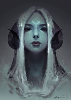 Stare - Fantasy digital painting by Keerou on deviantART #tiefling