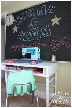 Sewing Desk in an Organized Craft Room