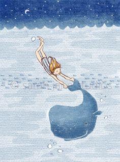 Children's Wall Art Print - Whale Dreams (Girl) - Kids Nursery Room Decor. $26.00, via Etsy.:
