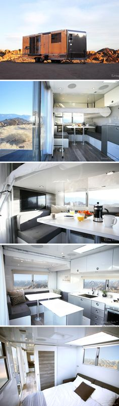A luxury tiny house on wheels with a chef's kitchen, home security system, and a bed that descends from the ceiling at the push of a button!
