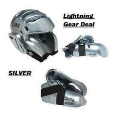 Lightning Silver Karate Taekwondo Sparring Gear Set Package Deal All Sizes