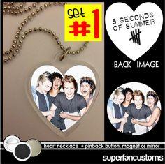5 Seconds of Summer NECKLACE + BUTTON  5sos Calum Michael Ashton Luke five #1498 #necklace