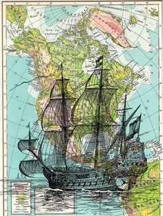 Old Ship on Map Vintage Book Print Dictionary or Encyclopedia Page Print map  Print on Vintage Book art. $10.00, via Etsy.