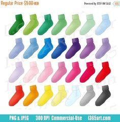 50% OFF Socks Clipart, Socks Clip Art, Cute Socks, Garments, Planner Graphics, Printable, Digital Scrapbooking, PNG, Commercial by I365art