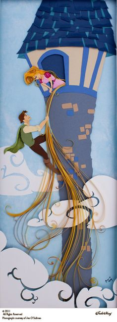 Rapunzel paper-crafting by Jackie Huang (see much more at jackiehuang.com)