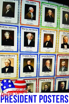 President Posters - U. Teacher Bulletin Boards, Bulletin Board Display, Names Of Presidents, Democrats And Republicans, Information Poster, Colorful Party, Political Party, Vice President, Graphic Organizers