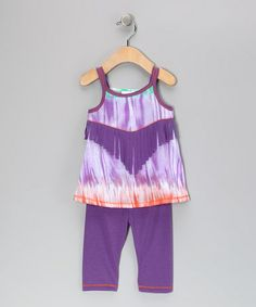 Take a look at this Purple Fringe Tunic & Leggings - Toddler & Girls by Freckles + Kitty on #zulily today!