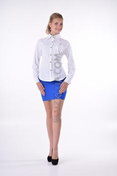 ea26f5379b2 Белая женская рубашка в стиле кэжуал с модными закатывающимися рукавами с  хлястиком