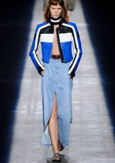 "Go denim and diamonds by taking the uptown, downtown. Pair Gabriella Wimmer's diamond alligator blue ""Duchess"" clutch with this chic downtown look from Alexander Wang's Spring 2016 Runway Presentation."