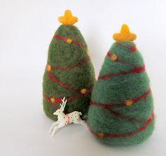 Needle Felted Christmas Trees