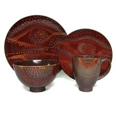 The Red Vanilla organic brown 16-piece dinner set features an unique reactive glaze that makes all of these pieces slightly different. Made of stoneware, the colors can vary on each piece from dark to light brown.
