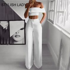 Product Sexy Bare Back Sloping Shoulder Sleeveless Pure Colour Suit Brand Name Naychic SKU Gender Women Item Type Suit Pattern Type Pure C Suit Fashion, Fashion Pants, Look Fashion, Fashion Dresses, Fashion Jumpsuits, Ladies Fashion, High Fashion, Womens Jumpsuits, Short Women Fashion