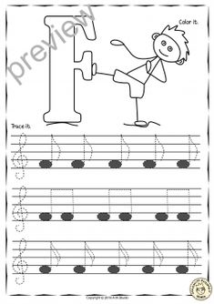 Read Music Tracing Music Notes Worksheets for kids {Treble Clef} - A set of 26 Music worksheets have been created to help your students learn to trace, copy, color and draw notes on the staff {Treble Pitch} {C first – A Second' octaves}. Music Worksheets, Worksheets For Kids, Keyboard Lessons, Music Lessons For Kids, Kids Songs, Violin Lessons, Reading Music, Treble Clef, Music Classroom