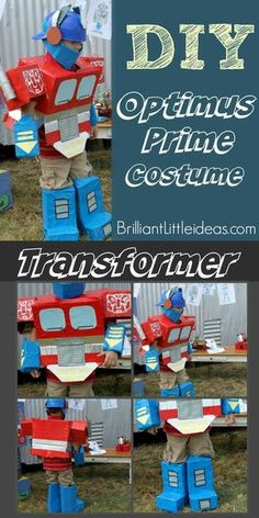 Transformers Costumes are awesome, but being Optimus Prime is a great Halloween boy costume. Robot Costume Diy, Transformer Halloween Costume, Robot Costumes, Transformer Birthday, Diy Boys Costume, Costume Ideas, Car Costume, Halloween Costumes Kids Boys, Diy Halloween Costumes For Kids