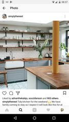 We're having a x extension on the back of our house, making a large room of x We 'could' have a massive RSJ but it would b Tidy Kitchen, Open Plan, Home Kitchens, Beams, Extensions, New Homes, Shelves, Table, Room