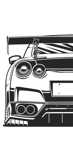 Nissan Gtr Wallpapers, Car Wallpapers, Nissan Gtr R35, Nissan Gtr Skyline, Tuner Cars, Jdm Cars, Gtr Drawing, Auto Vector, Cool Car Drawings