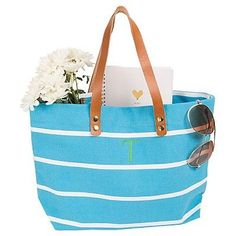 Women's Monogram Blue Striped Tote with Leather Handles - M, Size: Medium, Blue - M