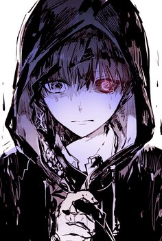 anime heterochromia / odd eyes black red (Kaneki Ken Tokyo Ghoul)