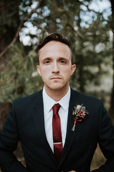 Groom Style at an Intimate fall camp wedding at Mount Laguna in San Diego Fall Groom Attire, Groomsmen Attire Black, Groomsmen Looks, Groom And Groomsmen Style, Black Suit Groom, Groom Style, Camp Wedding, Wedding Men, Wedding Suits