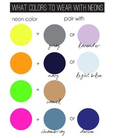 WHAT COLORS TO WEAR WITH NEONS!!! i love neon green and camel :) and neon orange with navy!