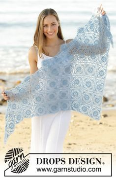 Crochet Libson Tiles Women's Flower Granny Squares Triangle Lightweight Mohair and Silk Shawl/ Scarf/ Sarong, Custom Order, Handmade by Silkwithasizzle on Etsy