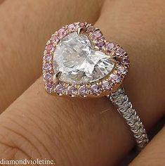 2.64ct Estate Vintage Heart Diamond Halo Engagement Wedding Platinum Ring