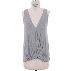 """🌟Grey Draped V Neck Top #570-GS Grey draped v neck top. Rayon/Spandex blend. Hand wash. Made in USA. Bust 34"""". PRICE FIRM! Viola Tops"""