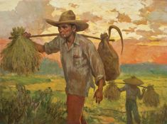✨ Fernando Cueto Amorsolo (Filipino, - Harvesting at Sunset. Oil on canvas laid on board, signed and dated 'F Amorsolo (lower left), x cm. x 26 in.Painted in 1935 Philippine Mythology, Philippine Art, Arte Filipino, Munier, Simple Canvas Paintings, Sunset Art, Vintage Artwork, Comic Artist, New Artists