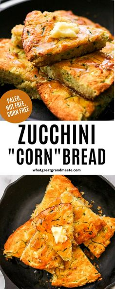 You'll never know that there's no corn in this zucchini cornbread that's moist and delicious! It's also nut free and paleo, and amazing drizzled with honey. Makes a great side dish for any meal! #paleo #grainfree #cornfree #nutfree #dairyfree #cornbread