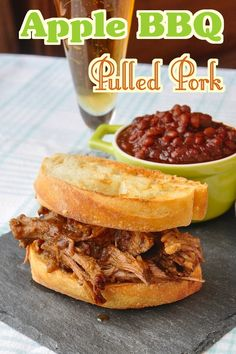 Apple BBQ Pulled Pork - no actual barbeque is used for our family favorite, succulent pulled pork that's slowly braised in apples and spices in the oven to form the incredible sauce.