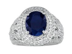 14K White Gold Large Oval-Cut Sapphire Diamond Ring Available Exclusively at Gemologica.com