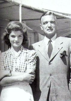 """Jackie, thirteen years old in this picture, and her father, John Vernou Bouvier III """"Black Jack"""""""