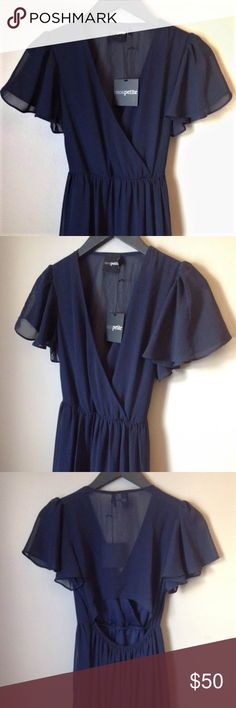 ASOS petite navy chiffon maxi dress A gorgeous dress from Asos petite perfect for a dressy occasion. Sheer navy chiffon with flutter sleeves, a high slit, v neck, back cutout, and elastic waist. The front of the top is lined, along with a mini skirt lining. ASOS Petite Dresses Maxi