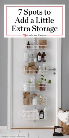 Small Space Solutions: 7 Spots to Add a Little Extra Storage. You may think you&… Small Space Solutions: 7 Spots Small Apartment Storage, Small Apartment Living, Small Space Storage, Small Space Organization, Small Apartment Decorating, Extra Storage, Small Space Decorating, Small Apartment Hacks, Clothing Organization